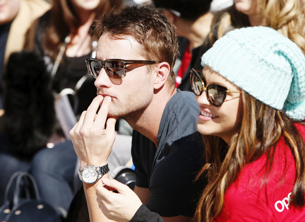 Chrishell Stause Pompom Beanie [eyewear,people,crowd,sunglasses,cool,glasses,youth,fun,event,lip,justin hartley,the rodosky family,chrishell stause,utah,park city,operation smile,celebrity ski smile challenge]