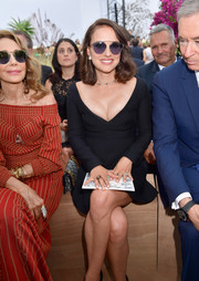 Natalie Portman was a classic beauty in a Dior LBD with a wide V neckline during the label's Haute Couture show.