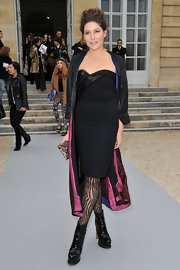 Stella Schnable donned a little black dress at Christian Dior's Paris Fashion Week presentation.