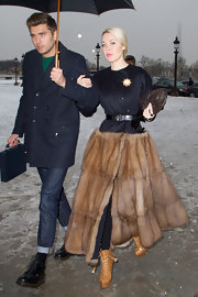 Ulyana was all about extravagance in this fur-skirt coat dress at the Christian Dior show in Paris.