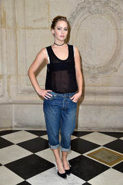 Jennifer Lawrence pulled her look together with black-and-white Dior pumps (that perfectly coordinated with her bra!).