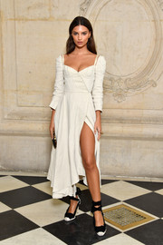 Emily Ratajkowski styled her dress with a pair of ankle-wrap pumps by Altuzarra.