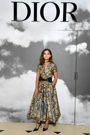 Jenna-Louise Coleman attended the Dior Couture Fall 2019 show wearing a chic fit-and-flare print dress from the brand.
