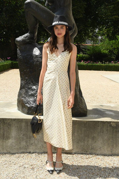 For her footwear, Margaret Qualley went vintage-chic with a pair of two-tone T-strap pumps.