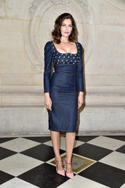 Laetitia Casta rocked denim so elegantly with this bee-embellished dress by Dior during the label's Spring 2017 show.