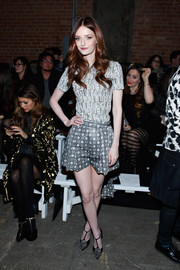 Lydia Hearst kept it casual in a printed gray tee during the Christian Siriano fashion show.