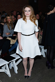 Natasha Lyonne added a little fun to her look with a pair of black-and-white polka-dot cap-toe pumps.
