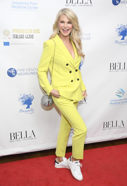 More Pics of Christie Brinkley Long Wavy Cut (1 of 23) - Christie Brinkley Lookbook - StyleBistro [clothing,yellow,hairstyle,footwear,fashion,outerwear,red carpet,carpet,electric blue,shoe,christie brinkley,influencer issue,new york city,bagatelle,bella new york,launch party]