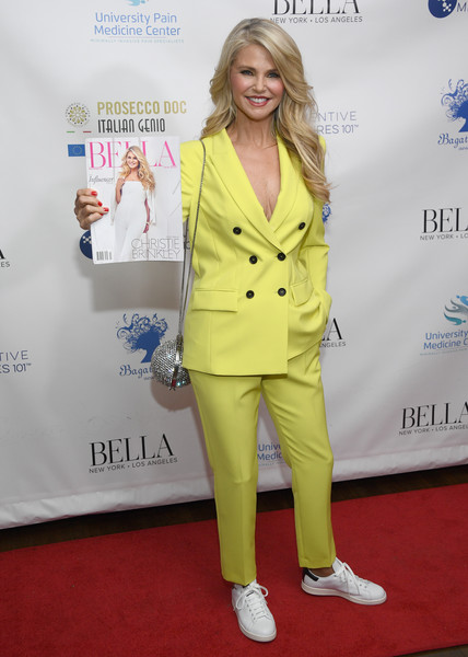 Christie Brinkley Pantsuit [clothing,pantsuit,red carpet,suit,yellow,carpet,flooring,premiere,outerwear,formal wear,christie brinkley,influencer issue,new york city,bagatelle,bella new york,launch party]