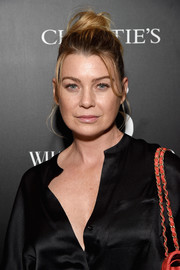 Ellen Pompeo wore her hair in a casual top knot at the Christie's x What Goes Around Comes Around 25th anniversary auction preview.