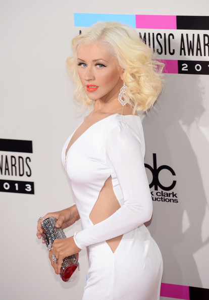 Christina Aguilera Tube Clutch [white,hair,clothing,blond,shoulder,beauty,skin,carpet,dress,hairstyle,arrivals,christina aguilera,american music awards,nokia theatre l.a. live,los angeles,california]