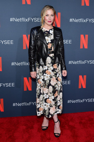 Christina Applegate Print Dress [clothing,carpet,red carpet,leather,dress,fashion,premiere,flooring,jacket,footwear,christina applegate,for your consideration,california,los angeles,netflix fysee,dead to me,raleigh studios,event]