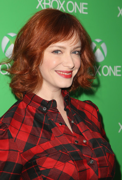 Christina Hendricks Curled Out Bob [hair,face,hairstyle,red,red hair,hair coloring,lip,bangs,brown hair,pattern,xbox one,christina hendricks,los angeles,california,milk studios,launch,xbox one launch]