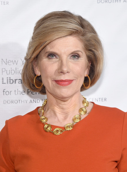 Christine Baranski Bob [hair,face,hairstyle,blond,chin,eyebrow,lip,brown hair,neck,long hair,new york public library for the performing arts 50th anniversary gala,the new york public library for the performing arts 50th anniversary gala,stephen a. schwarzman building,new york city,the new york public library,christine baranski]