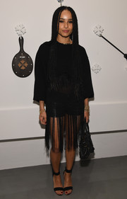 Zoe Kravitz wore black strappy sandals to Chrome Hearts celebrates The Miami Project during Art Basel.