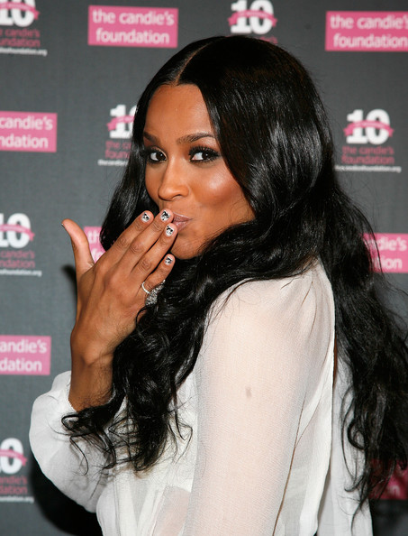 Ciara Nail Art [hair,black hair,hairstyle,lip,long hair,eyelash,forehead,layered hair,fashion accessory,brown hair,ciara,benefit gala,new york city,cipriani 42nd street,candies foundation 2011,event,candies foundation 2011 event to prevent benefit gala]