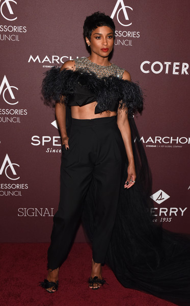 Ciara High-Waisted Pants [clothing,shoulder,fashion,dress,joint,red carpet,carpet,waist,flooring,premiere,ace awards,annual ace awards,cipriani 42nd street,new york city,ciara]