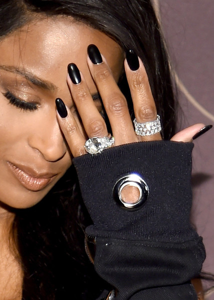 Ciara Engagement Ring [nail,finger,beauty,hand,wrist,ring,fashion accessory,jewellery,black hair,eye,arrivals,ciara,fashion details,manicure,ring,association,new york city,warner music group hosts pre-grammy celebration in association with v magazine,warner music group pre-grammy party]