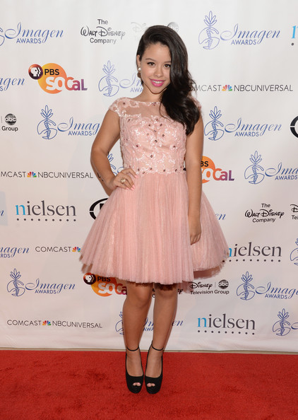 Cierra Ramirez Cocktail Dress [clothing,cocktail dress,dress,hairstyle,shoulder,red carpet,fashion,peach,premiere,footwear,arrivals,cierra ramirez,imagen awards,the beverly hilton hotel,beverly hills,california,annual imagen awards]