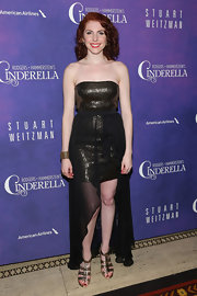 Maria Mindelle chose a funky metallic fishtail dress with a high-low hem for her look at the 'Cinderella' after party.