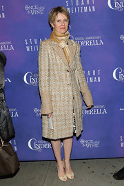 Cynthia Nixon looked classic and sophisticated in a nude tweed coat at the opening night of 'Cinderella' on Broadway.