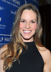 Hilary Swank wore her hair long and tousled at the Cinema for Peace Benefit.