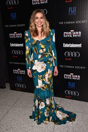 Elizabeth Olsen got majorly feminine in a teal Dolce & Gabbana gown printed with oversized flowers for a screening of 'Captain America: Civil War.'