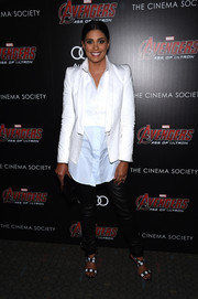 Rachel Roy teamed a pointy-shouldered white blazer with a two-tone button-down for the 'Avengers: Age of Ultron' screening.