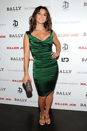 Gina Gershon's white evening sandals and emerald-green cocktail dress at the 'Killer Joe' screening were a totally sexy pairing.