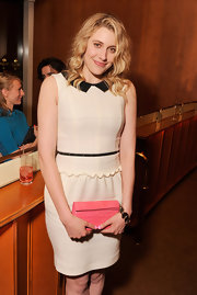 Greta Gerwig looked cute at the screening of 'Lola Versus' in a white cocktail dress with a pointy black Peter Pan collar.