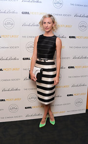 Mickey stuck to classic black and white stripes, which she donned at the NYC screening of 'Girl Most Likely.'