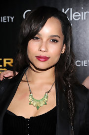 Zoe Kravitz wore a muted cranberry shade of lipstick with a soft pearlescent finish while at a screening of 'The Hunger Games.'