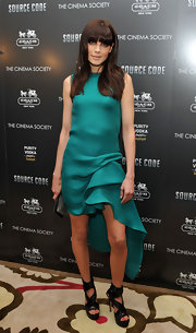 Michelle dons a hot teal cocktail dress with a gathered asymmetrical hem to the screening of 'Source Code.'
