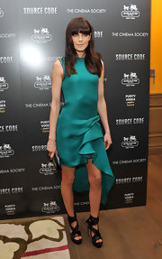 Michelle Monaghan wore black strappy platform sandals with wrap around ankle straps to a screening of 'Source Code.'