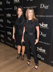Nina Garcia finished off her ensemble in sexy style with a pair of black cross-strap sandals.