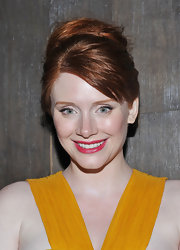 Bryce Dallas Howard arrived at a screening of 'Restless' with her long, auburn locks in casual French twist. To recreate her look, pull hair back and twist vertically from the nape of the neck to the crown, adding bobby pins horizontally along the twist to secure.