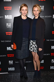 An elegant teal brocade skirt broke the monotony of Greta Gerwig's look during the screening of 'Mud.'