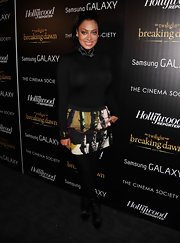 A printed mini skirt added a bit of brightness to La La Anthony's ensemble when she attended the screening of 'The Twilight Saga: Breaking Dawn Part 2.'