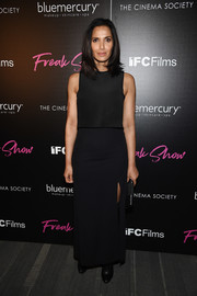 Padma Lakshmi attended the premiere of 'Freak Show' wearing a boxy black tank top.