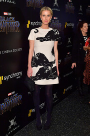 Nicky Hilton Rothschild looked stylish in a monochrome print dress at the screening of 'Black Panther.'