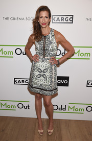 Alysia Reiner completed her outfit with a pair of nude platform peep-toes.