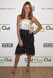 Kelly Bensimon chose a two-tone satin and velvet cocktail dress for the season 3 premiere of 'Odd Mom Out.'