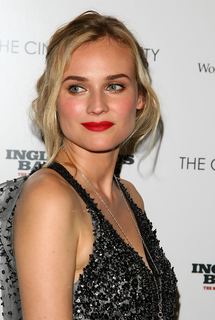 "Actress Diane Kruger attends the Cinema Society and Hugo Boss screening of ""Inglourious Basterds"" at the SVA Theater on August 17, 2009 in New York City."