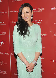 Wendi Murdoch dazzled the red carpet with dark long curls and diamond accessories.