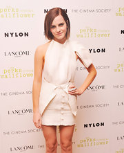 "Emma looked artistic in this buttoned ""undone' miniskirt at the premiere of 'The Perks of Being a Wallflower.'"