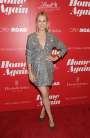 Kelly Rutherford sparkled in a silver sequin dress with a deep-V neckline at the 'Home Again' screening.