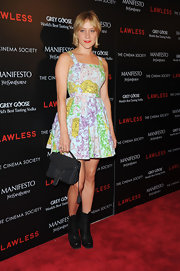 Chloe Sevigny looked particularly darling in this violet print fit-and-flare dress at the 'Lawless' screening.