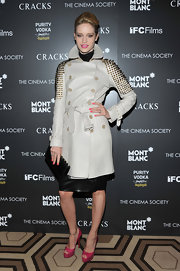 Juli wears a leather trench with spiked shoulders for the premiere of 'Cracked' in NYC.
