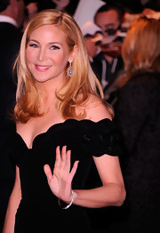 Jennifer Westfeldt attended a screening of 'Friends With Kids' wearing her long blond locks sleek and straight with subtly curled ends.