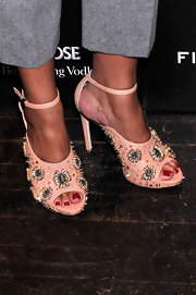 Rachel Roy opted for some major bling with these jeweled floral studded heels.